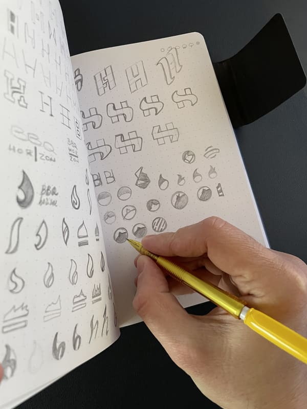 Sketching Logo - processo creativo Stilographico